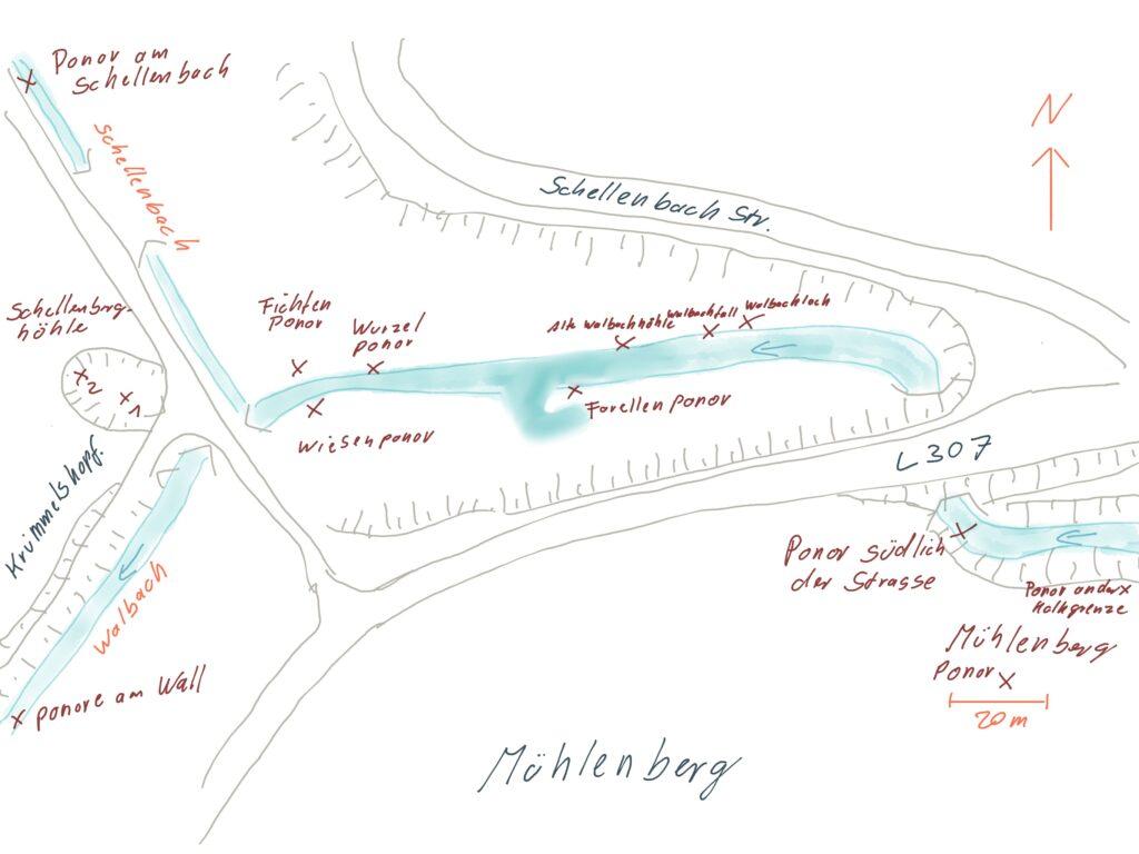 Plan der Ponore am Walbach
